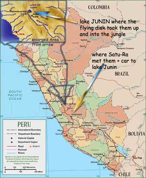 map of peru. Andes in the background at